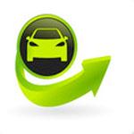 icône auto sur bouton vert et noir