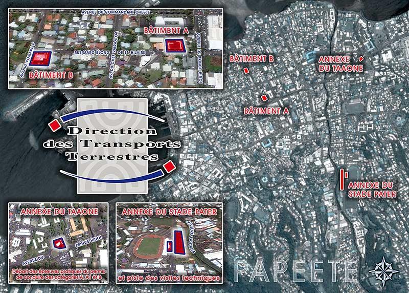 Plan d'accès du service des immatriculation de Tahiti